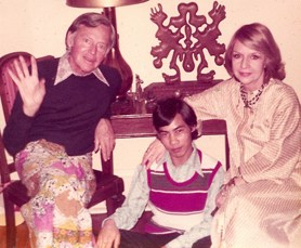 indra with charles henri ford and ruth ford snapshot by Dotson Radar January 1975
